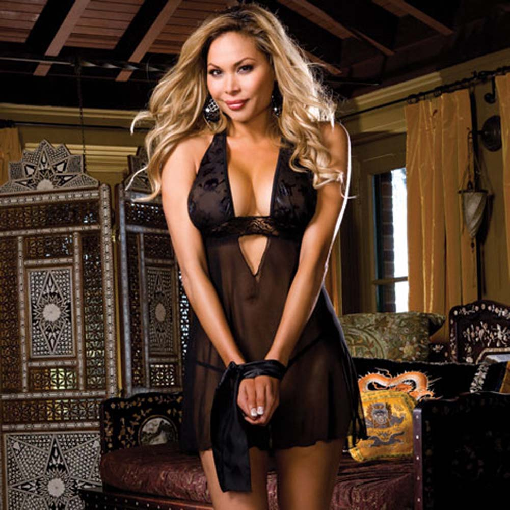 Jolly Roger Sleep Dress with Retreat Tie and Panty Plus Size - View #1