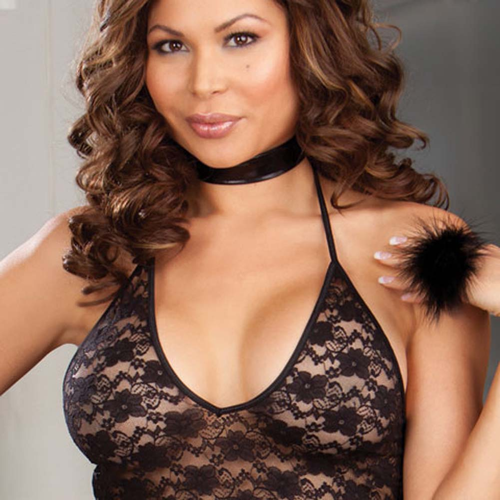 Teaser Pleaser Chemise Set with Accessories Plus Size Black - View #3