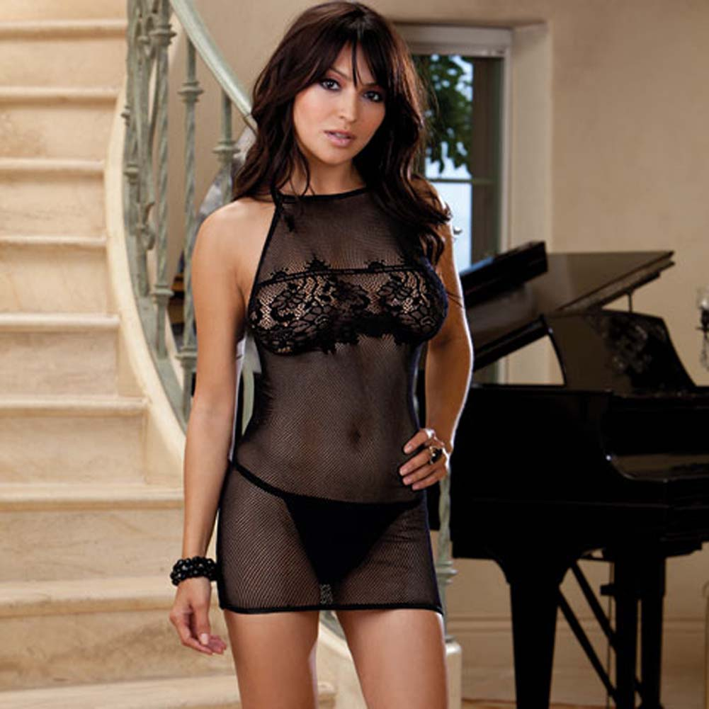 Naughty Seduction Chemise and G-String Black - View #1