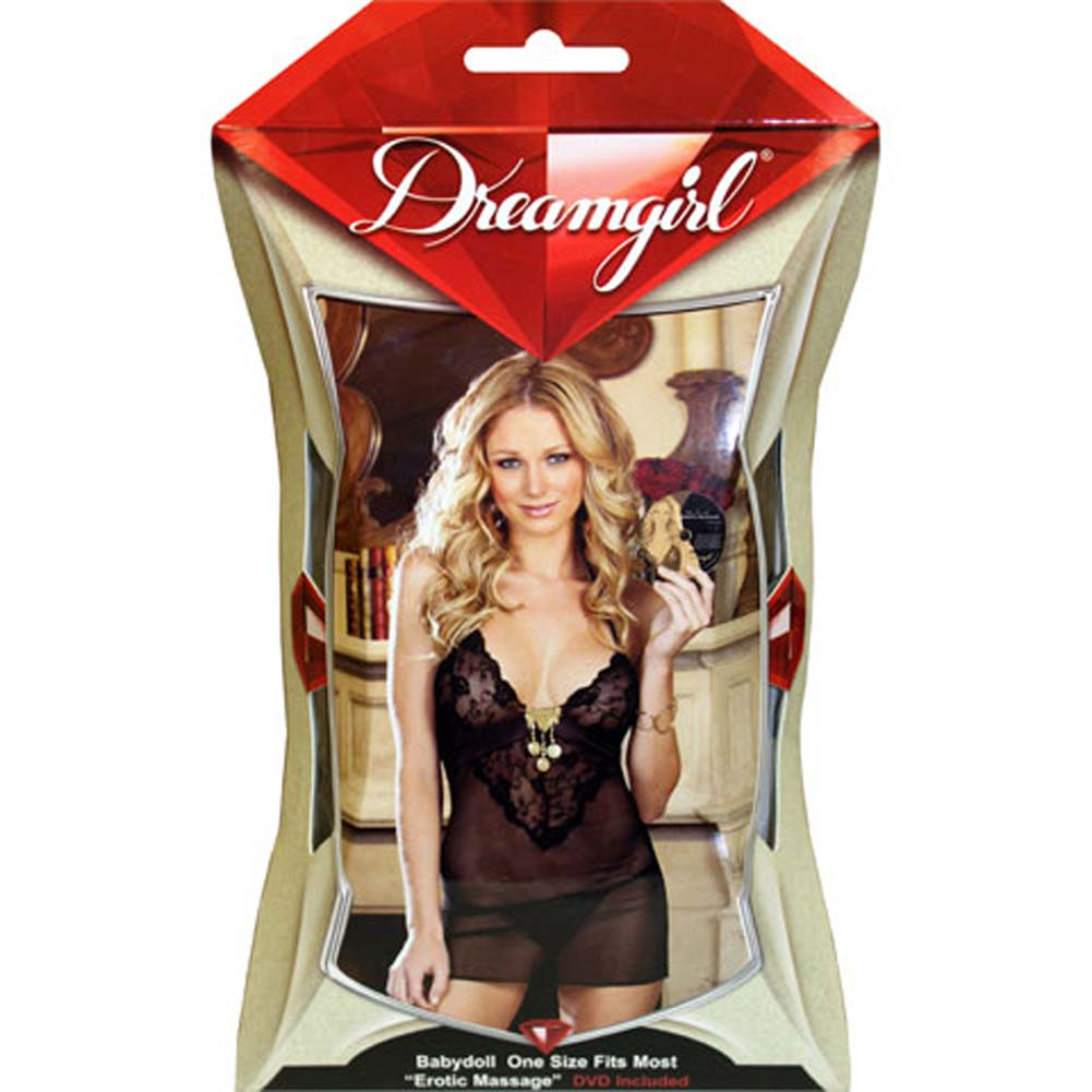 Gold Charm Chemise and Panty Set with Sensual DVD Black - View #4