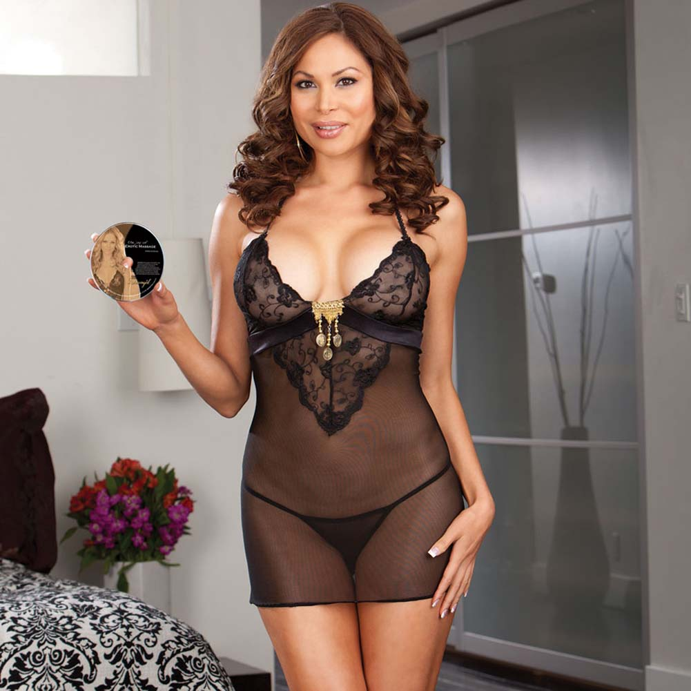 Gold Charm Chemise Set with Sensual DVD Plus Size Black - View #1