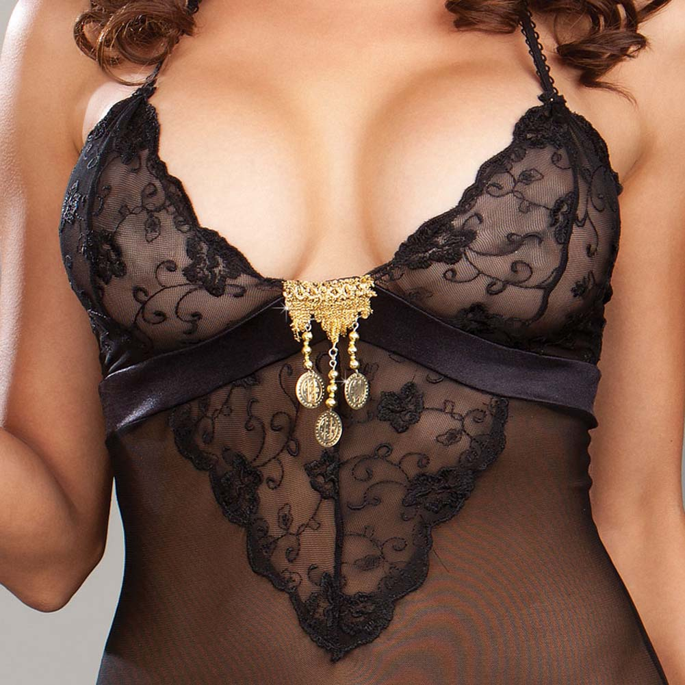 Gold Charm Chemise Set with Sensual DVD Plus Size Black - View #3