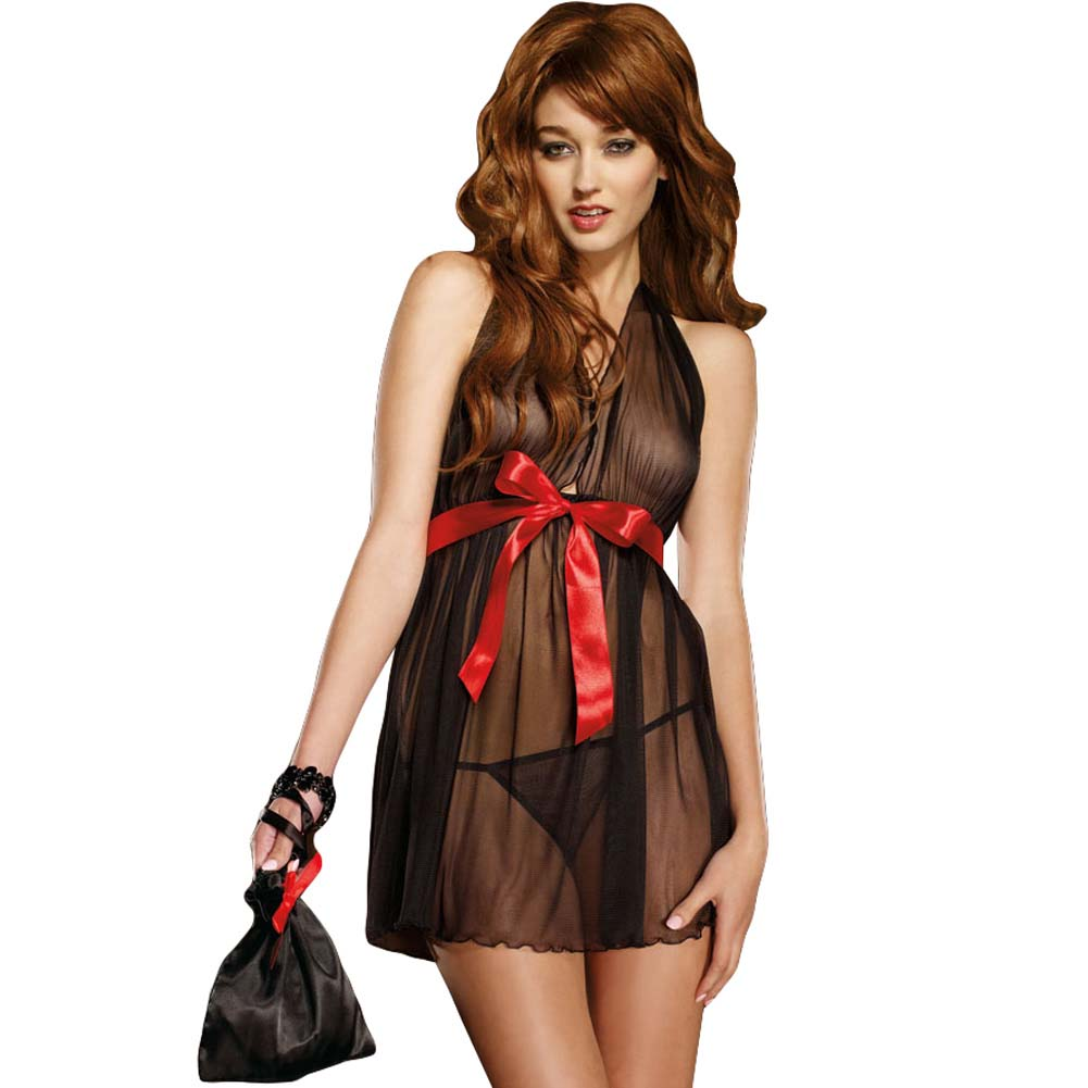 Dreamgirl Midnight Rendezvous Babydoll Set with Pouch One Size Black - View #1