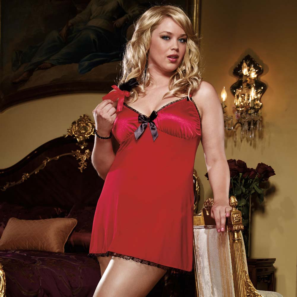 All Heart Slip Dress with Feather Tickler Ruby Plus Size - View #1