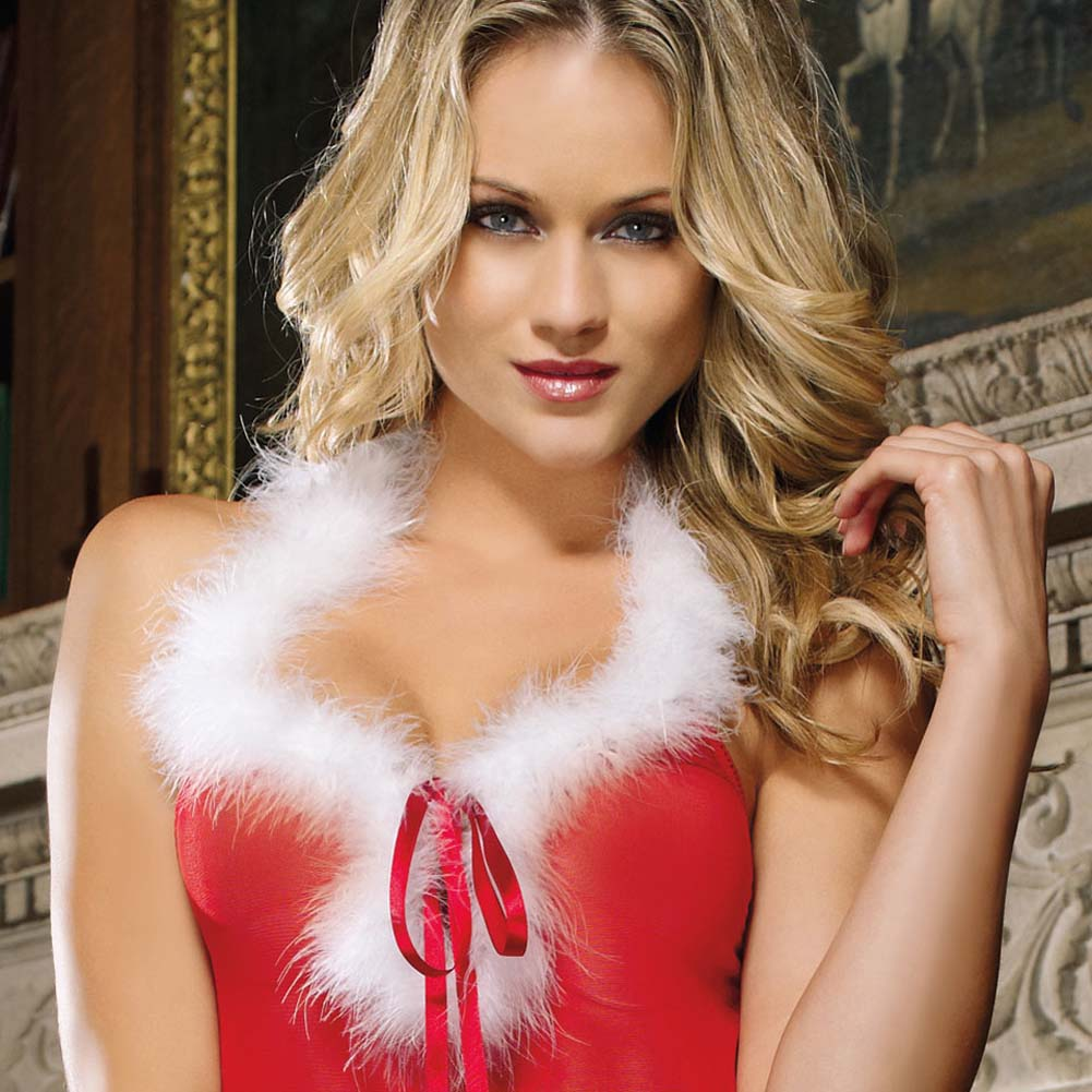 Santas Baby Sleep Dress and Panty Set with Chimes Red - View #3