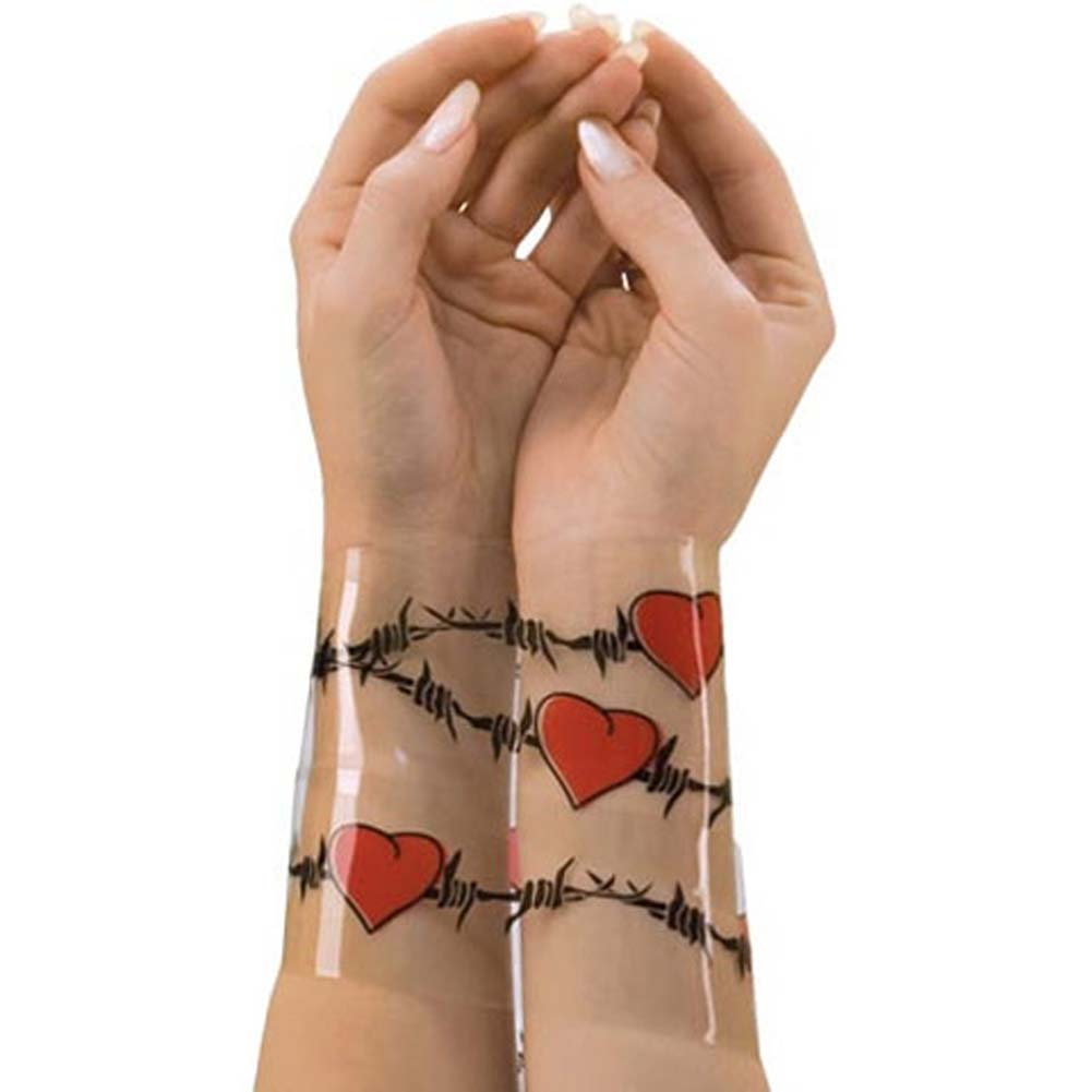 Reusable Designer Bondage Tape with Barbed Wire Hearts 30 Ft - View #2