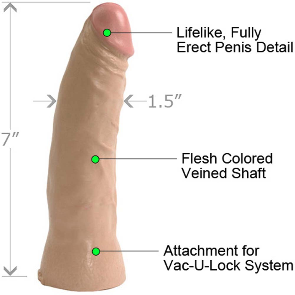 "Doc Johnson Vac-U-Lock Thin Realistic Dong 7"" Natural - View #1"