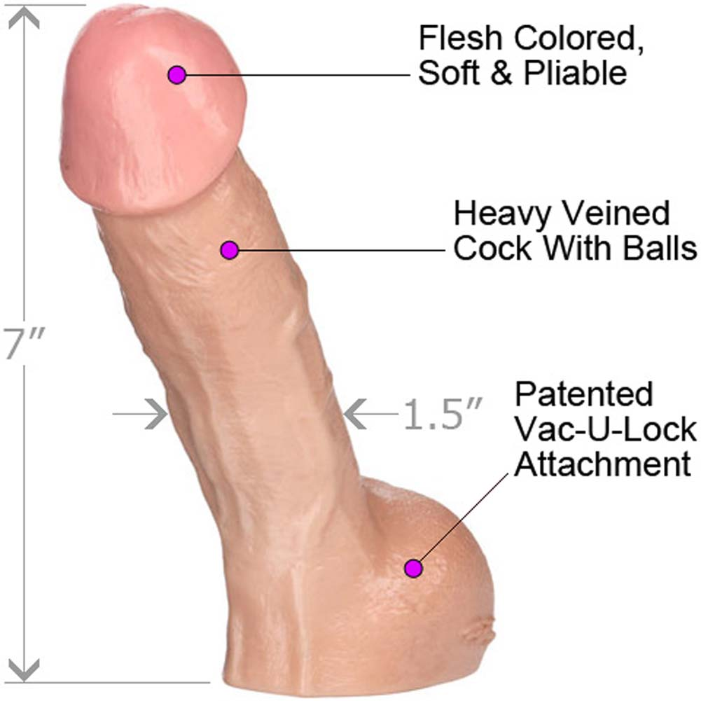 "Vac-U-Lock Perfect Realistic Erect Cock 7"" Natural - View #1"