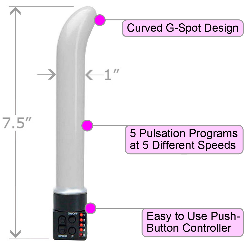 "OptiSex Multi Function Female G-Spot Vibrator 7.5"" Glitter White - View #1"