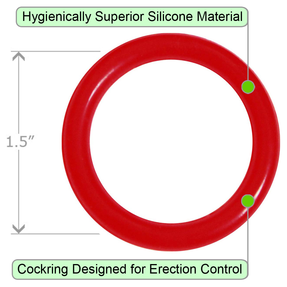 OptiSex Premium Silicone Erection Control Ring Red Medium - View #1