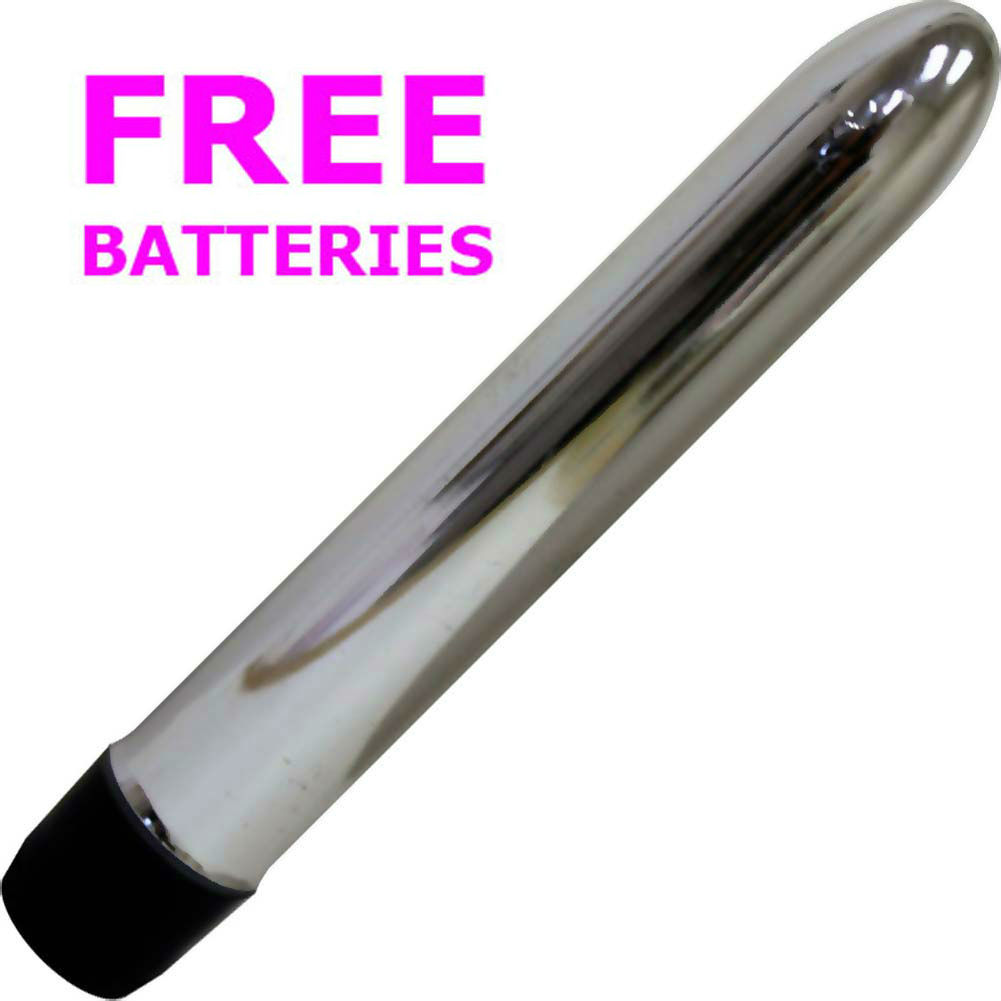 "OptiSex Large Smooth Personal Intimate Vibrator 7"" Sexy Silver with FREE Batteries - View #2"