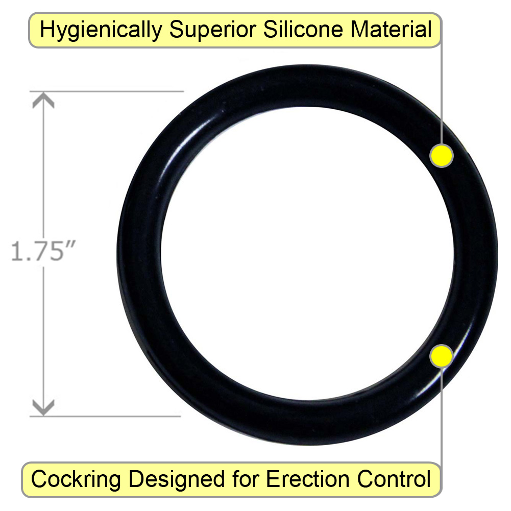 OptiSex Premium Silicone Erection Control Ring Black Large - View #1