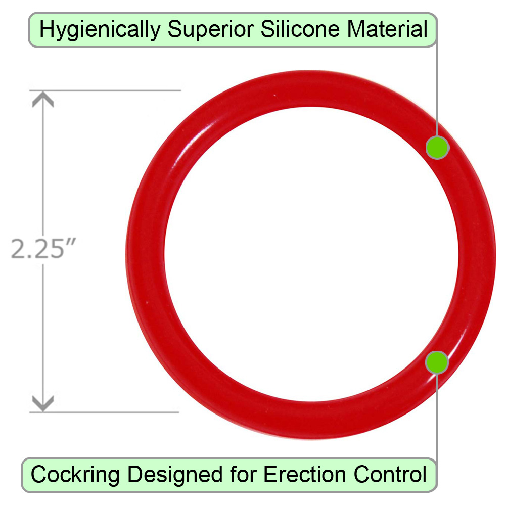 OptiSex Premium Silicone Erection Control Ring Hot Red XL - View #1