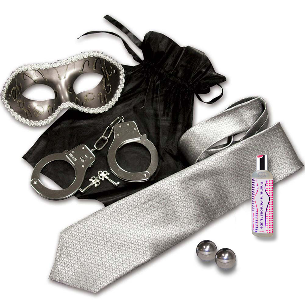 Grey and Silver Shades Mystery Bondage Kit with Steel Ben Wa Balls - View #2