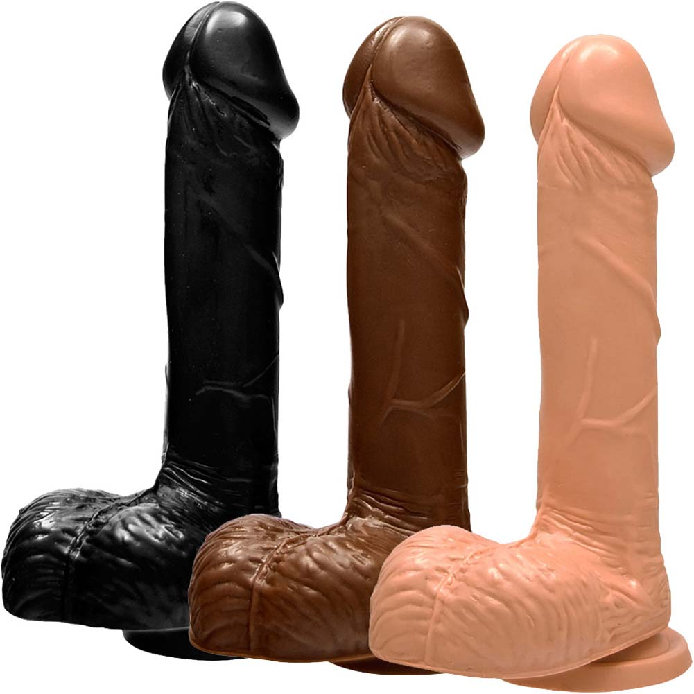 """Realistic 7"""" Cock and Balls with Suction ASSORTED COLORS - View #2"""