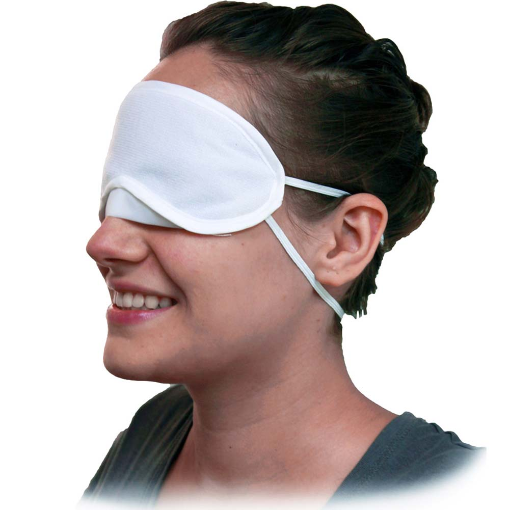 Velvet Double Strap Blindfold Eye Mask White - View #2