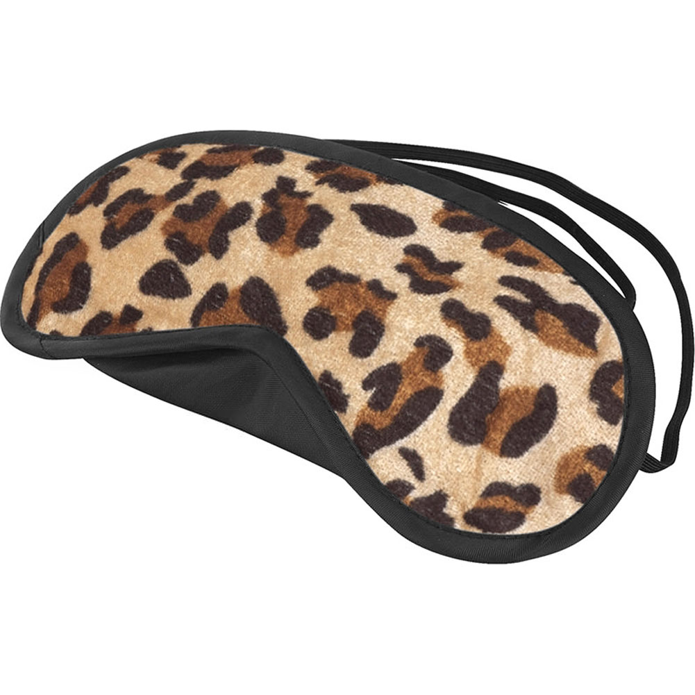 Velvet Double Strap Blindfold Eye Mask Leopard - View #1