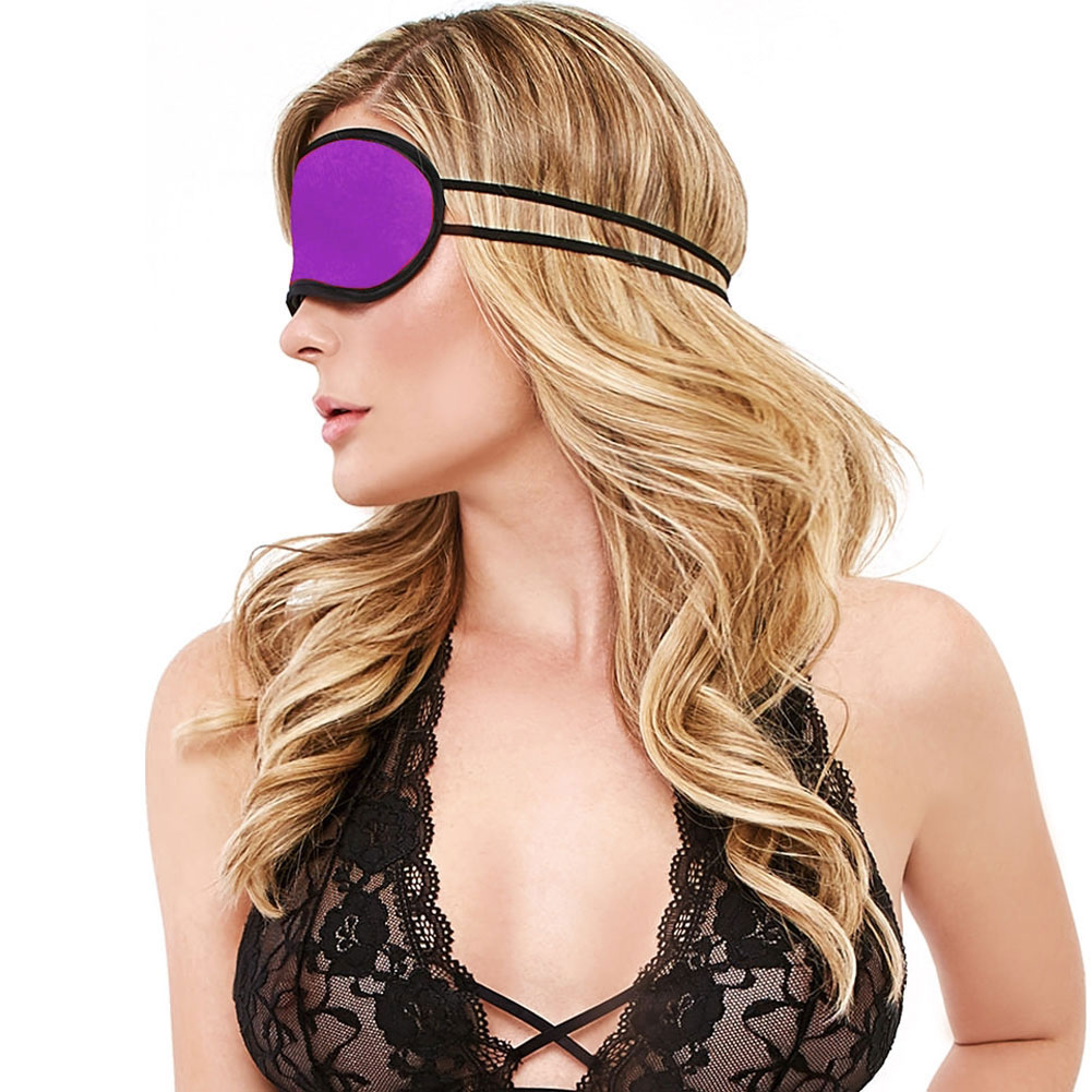 Velvet Double Strap Blindfold Eye Mask Purple - View #3
