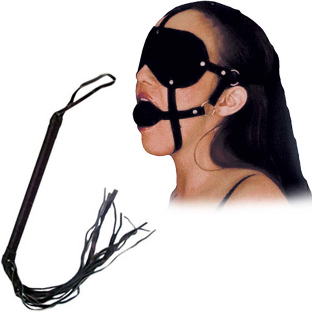 Fetish Face Advanced Kinky Bondage Kit for Lovers with Gag Mask and Whip Black - View #1