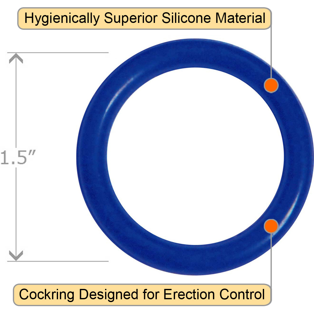 OptiSex Super Silicone Cockring Medium Blue - View #1