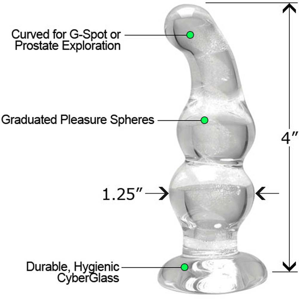 CyberGlass Mini G-Spot Dong and OptiSex Clear Joy Relaxing Anal Lube Combo 1 Fl. Oz. - View #2