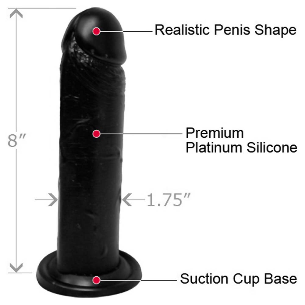 "OptiSex Large Silicone Cock Dildo with Suction Base 8"" Kinky Black - View #1"