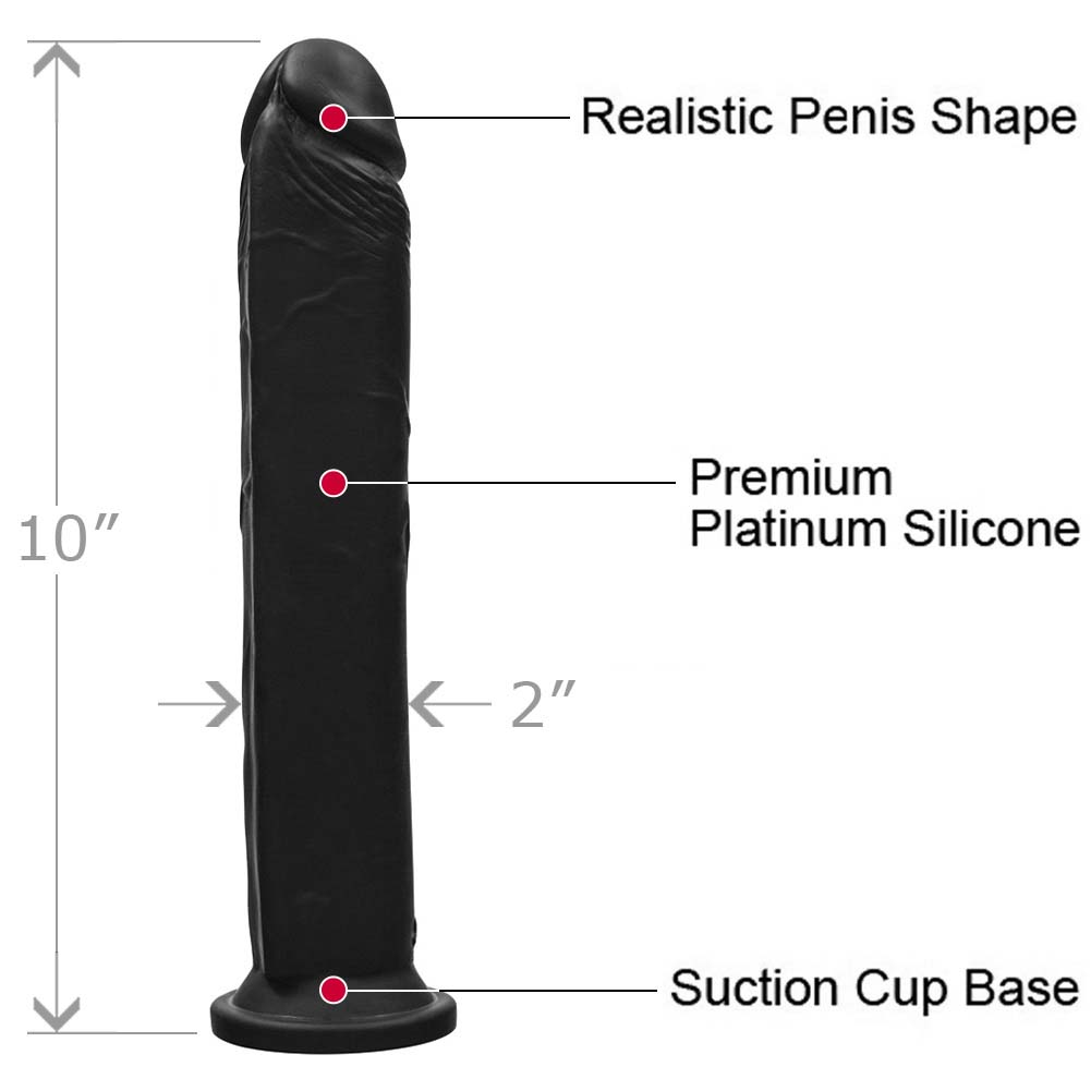 "OptiSex Extra Large Silicone Cock Dildo with Suction Base 10"" Kinky Black - View #1"