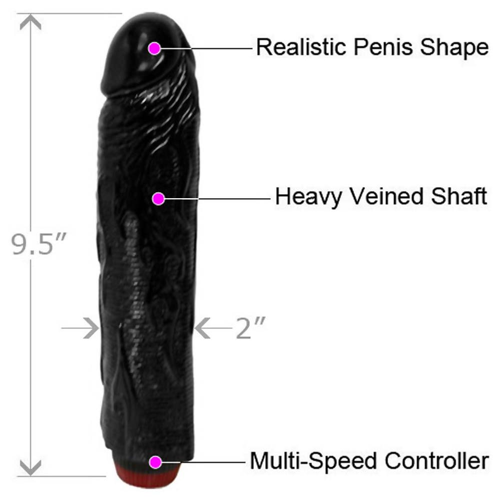 "OptiSex Hot Rod Vibrating Dong for Sensual Play 9"" Midnight Black - View #1"