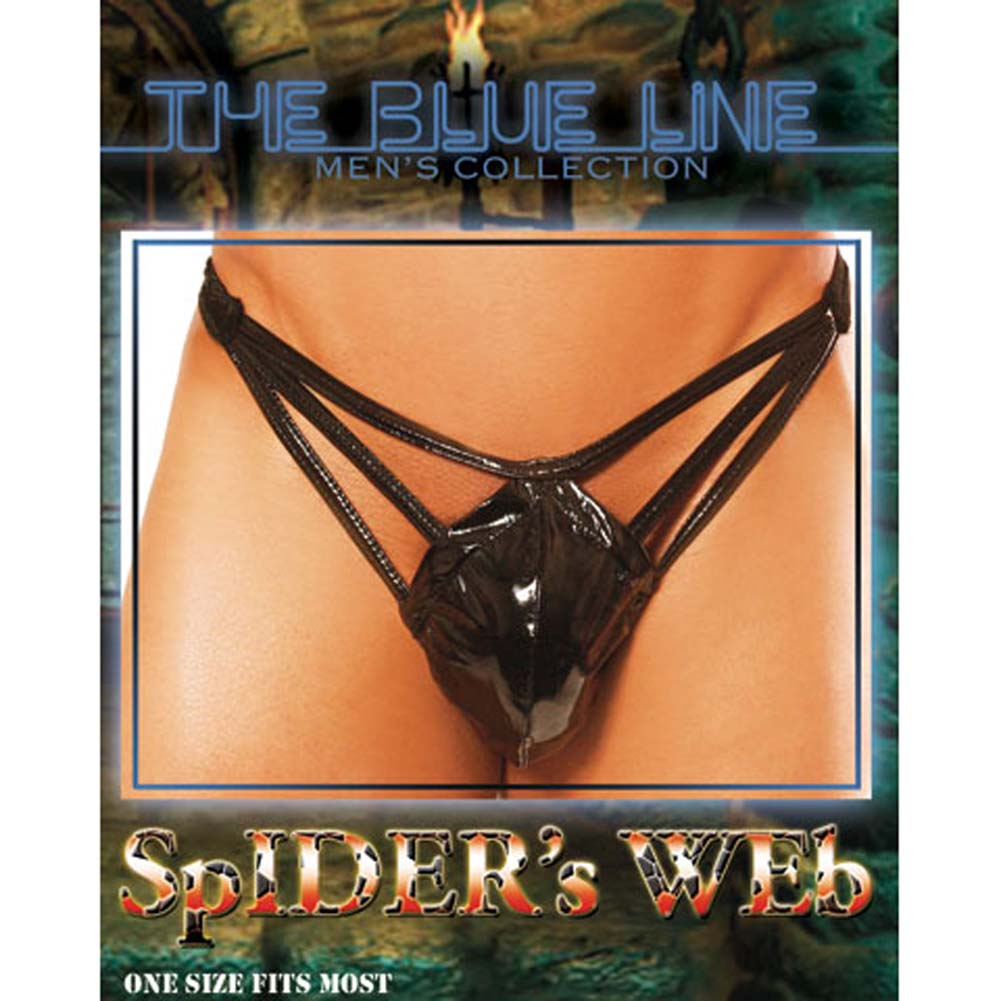 Spiders Web Male Pouch Thong with Straps - View #3