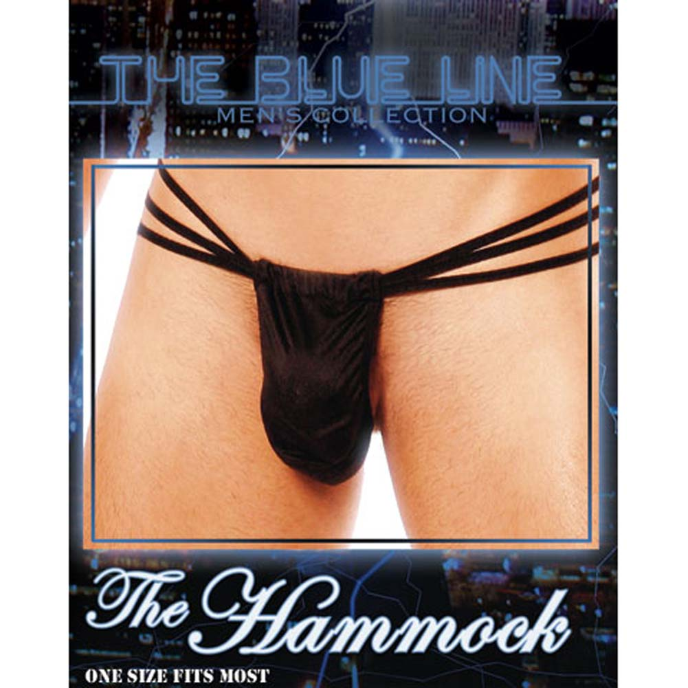Hammock Male Pouch Thong with Straps Black - View #3