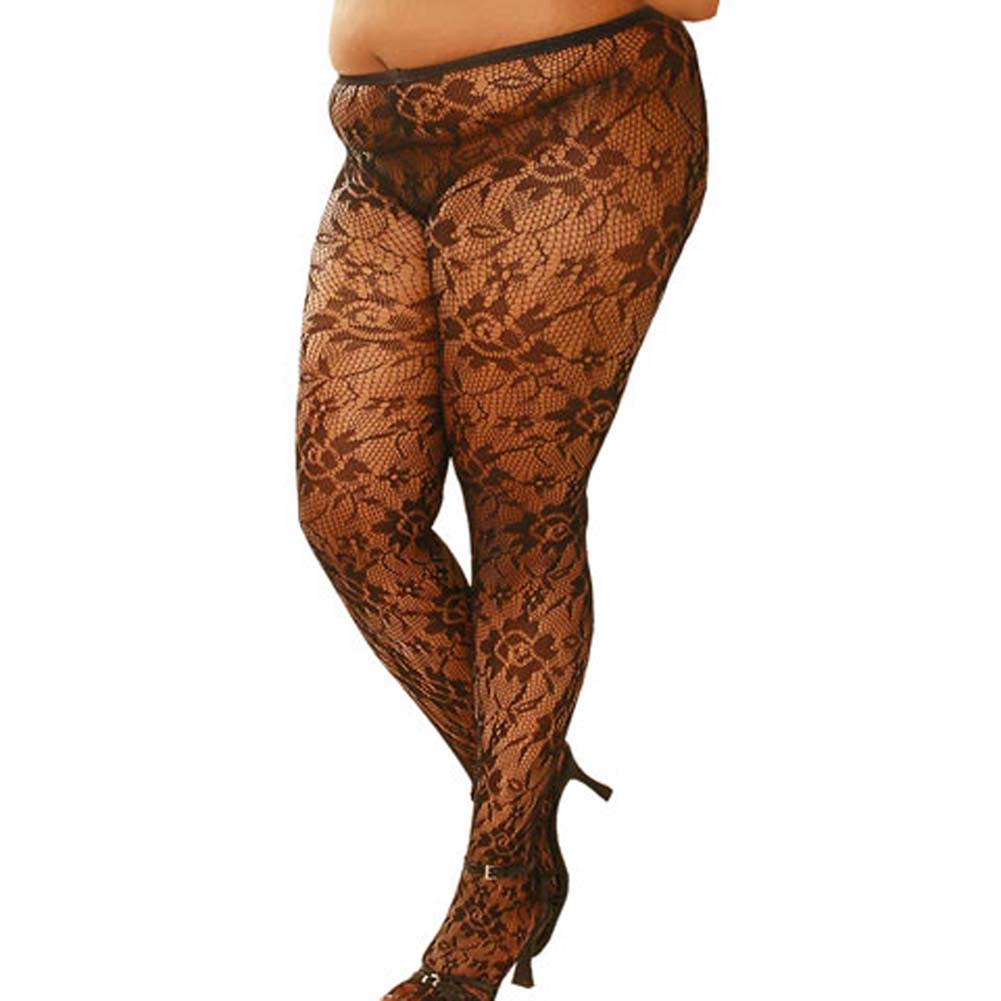 Flower Lace Pantyhose Black Plus Size 1X/3X - View #2