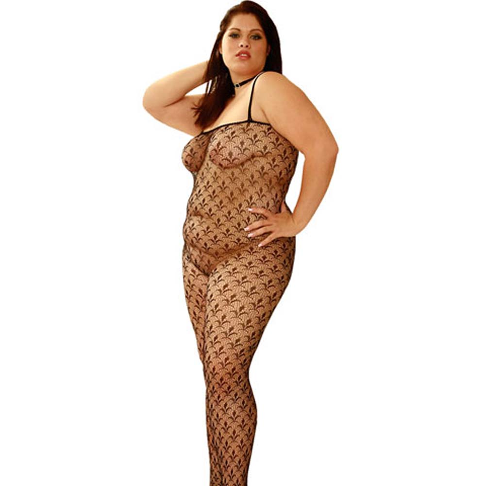 Flower Lace Bodystocking Plus Size 1X/3X - View #2