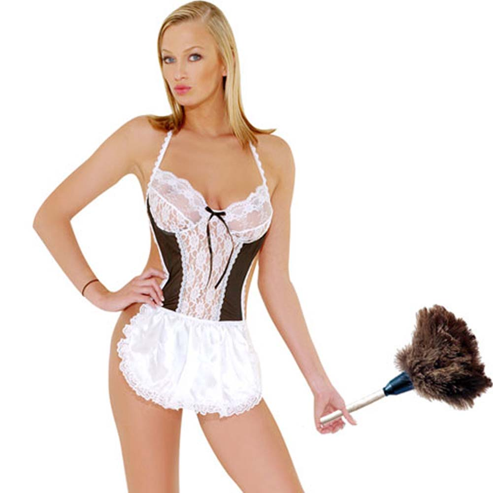 Sexy French Maid Costume One Piece Thong - View #2