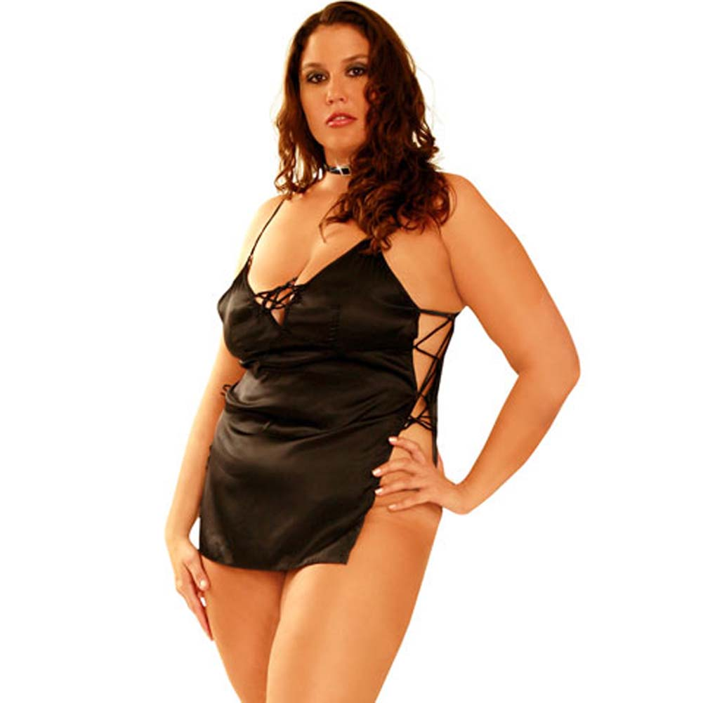 Satin Side Tie Slip Dress and G-String Set Black Plus Size - View #2