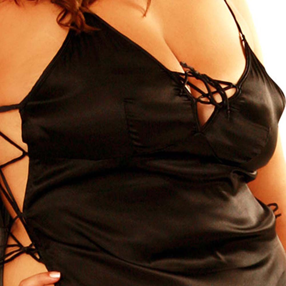 Satin Side Tie Slip Dress and G-String Set Black Plus Size - View #4
