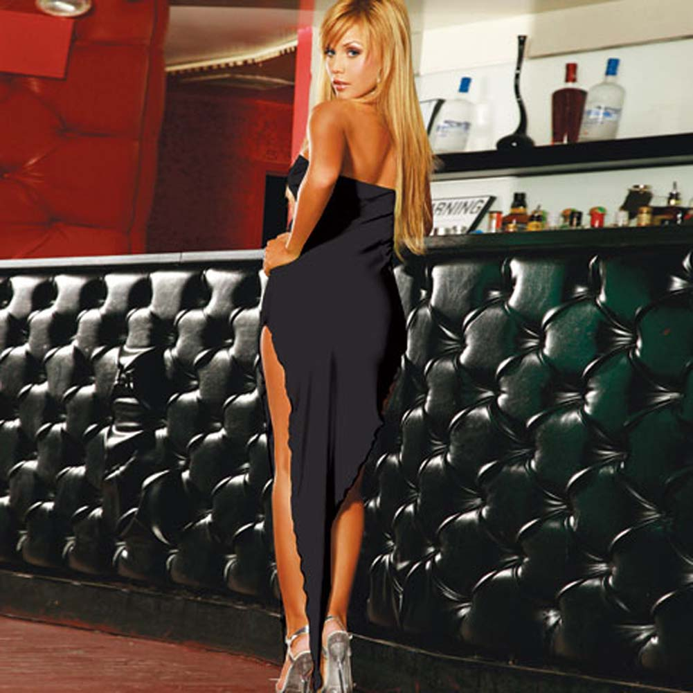 Sexy Bias Cut Evening Gown Black - View #1