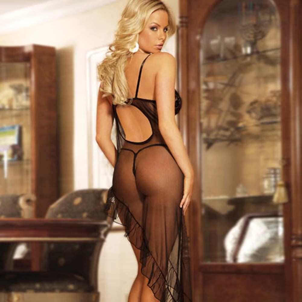 Electric Lingerie Mesh Gown and V String Panty One Size Black - View #2