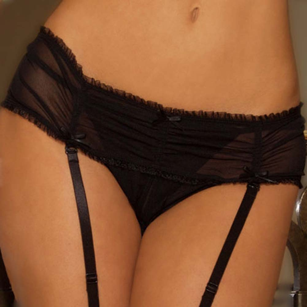 Flirty Crotchless Hipster Panty with Hook On Garters Black - View #3
