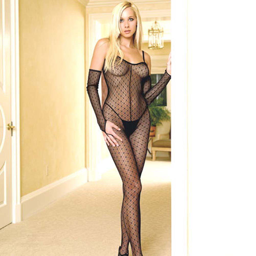 Criss Cross Back Open Crotch Bodystocking with Gloves - View #2