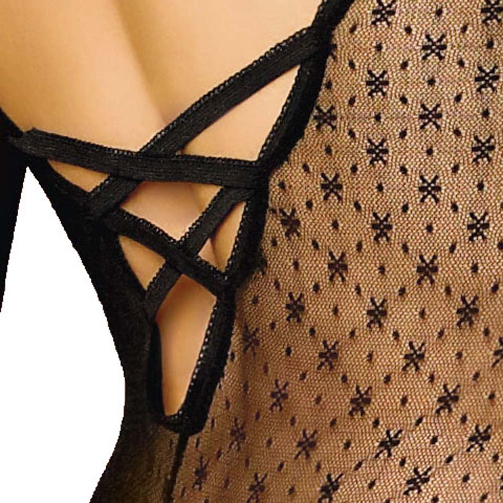 Criss Cross Back Open Crotch Bodystocking with Gloves - View #4