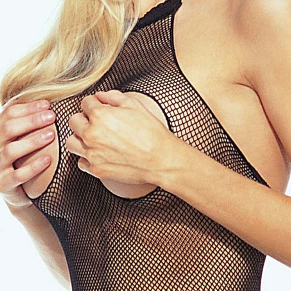Seamless Fishnet Halter Bodystocking Black - View #3