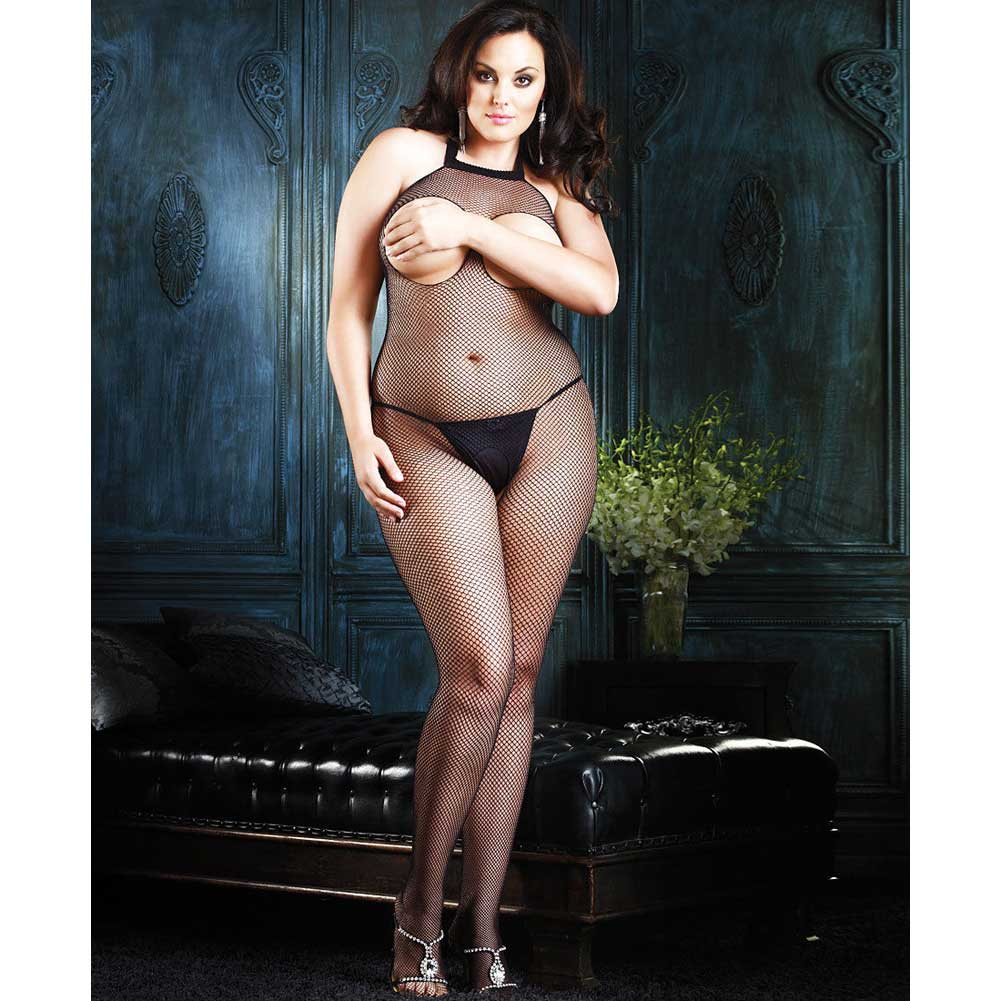 Open Bust Fishnet Halter Bodystocking Black Plus Size - View #2