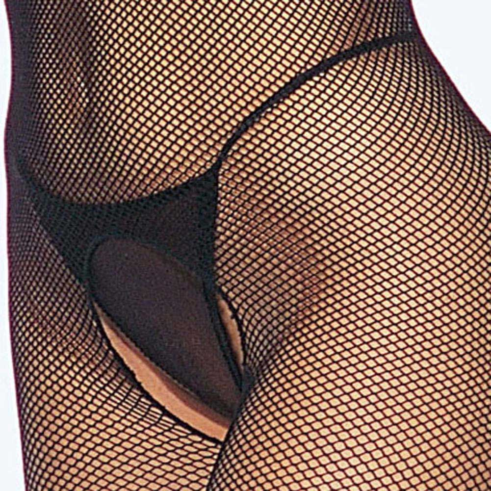 Open Bust Fishnet Halter Bodystocking Black Plus Size - View #4