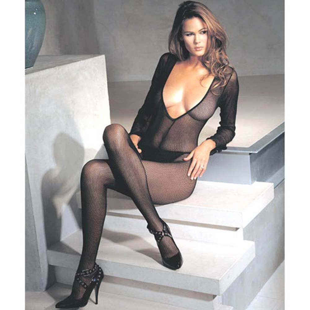Deep V Cut Fishnet Long Sleeve Bodystocking One Size Black - View #2