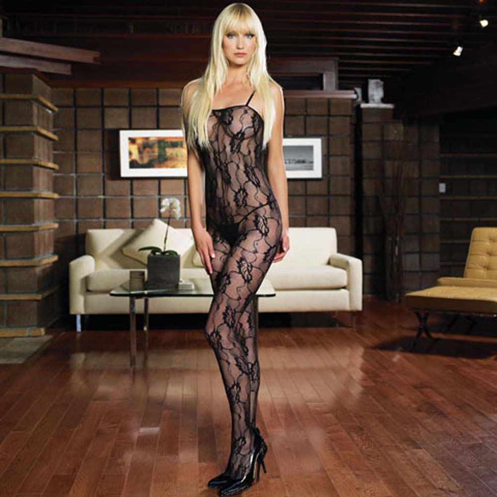 Rose Lace Crotchless Bodystocking Black - View #1