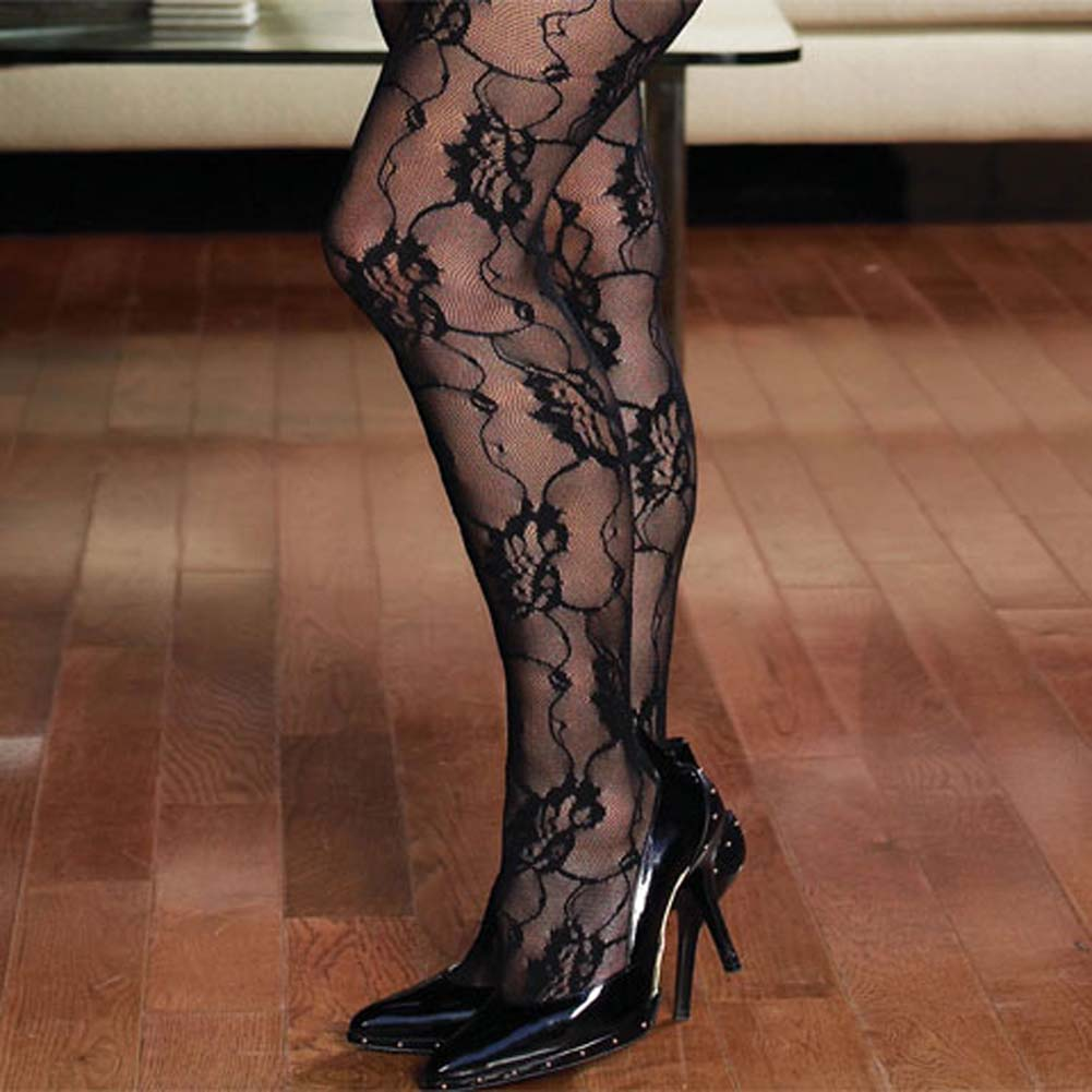Rose Lace Crotchless Bodystocking Black Plus Size - View #3