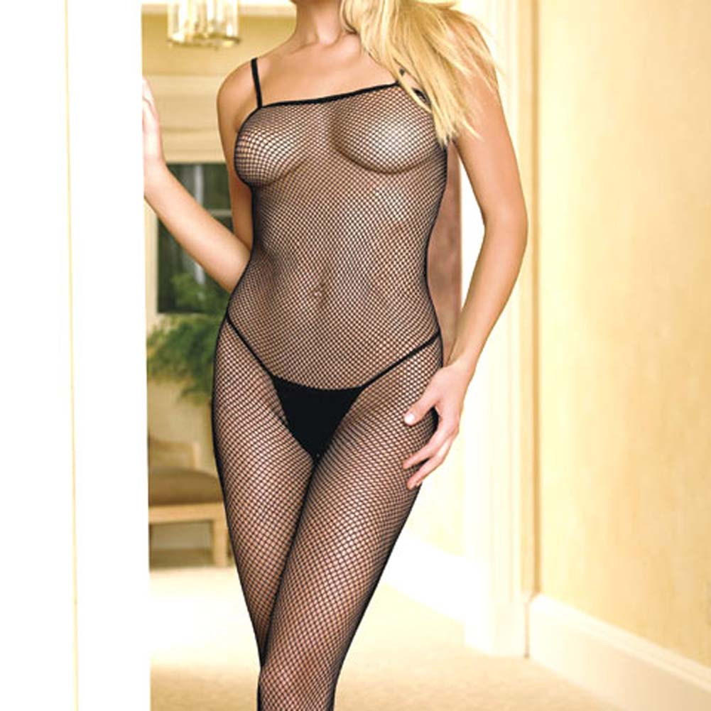 Seamless Fishnet Open Crotch Bodystocking Black - View #3