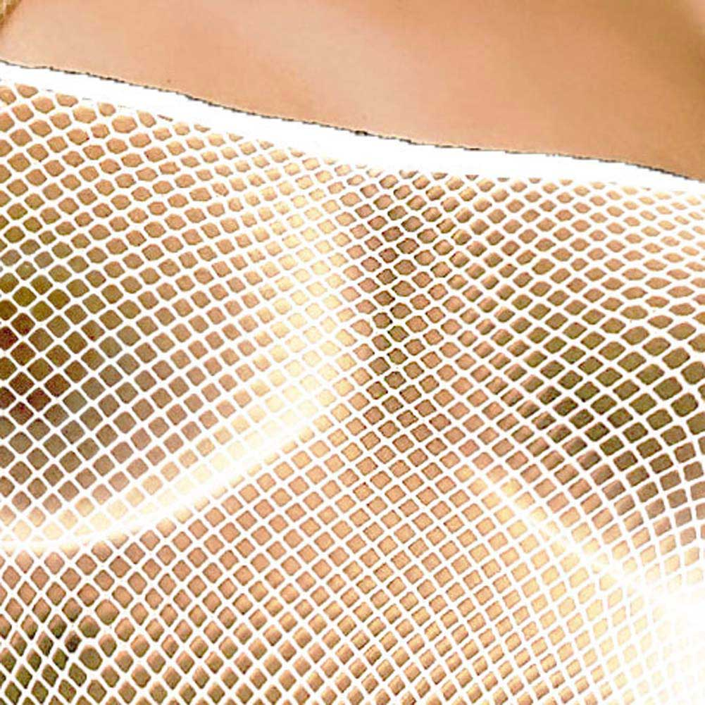 Seamless Fishnet Open Crotch Bodystocking White - View #4