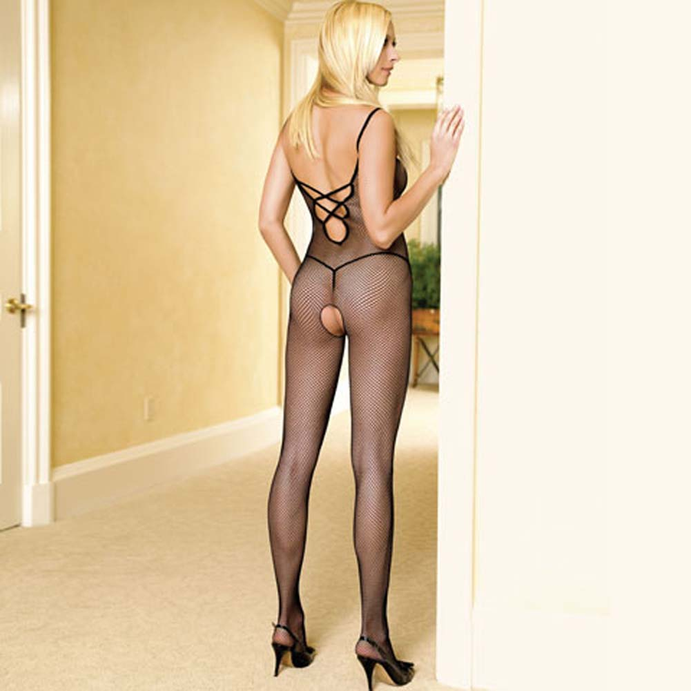 Seamless Fishnet Bodystocking with Lace Up Back Black - View #1