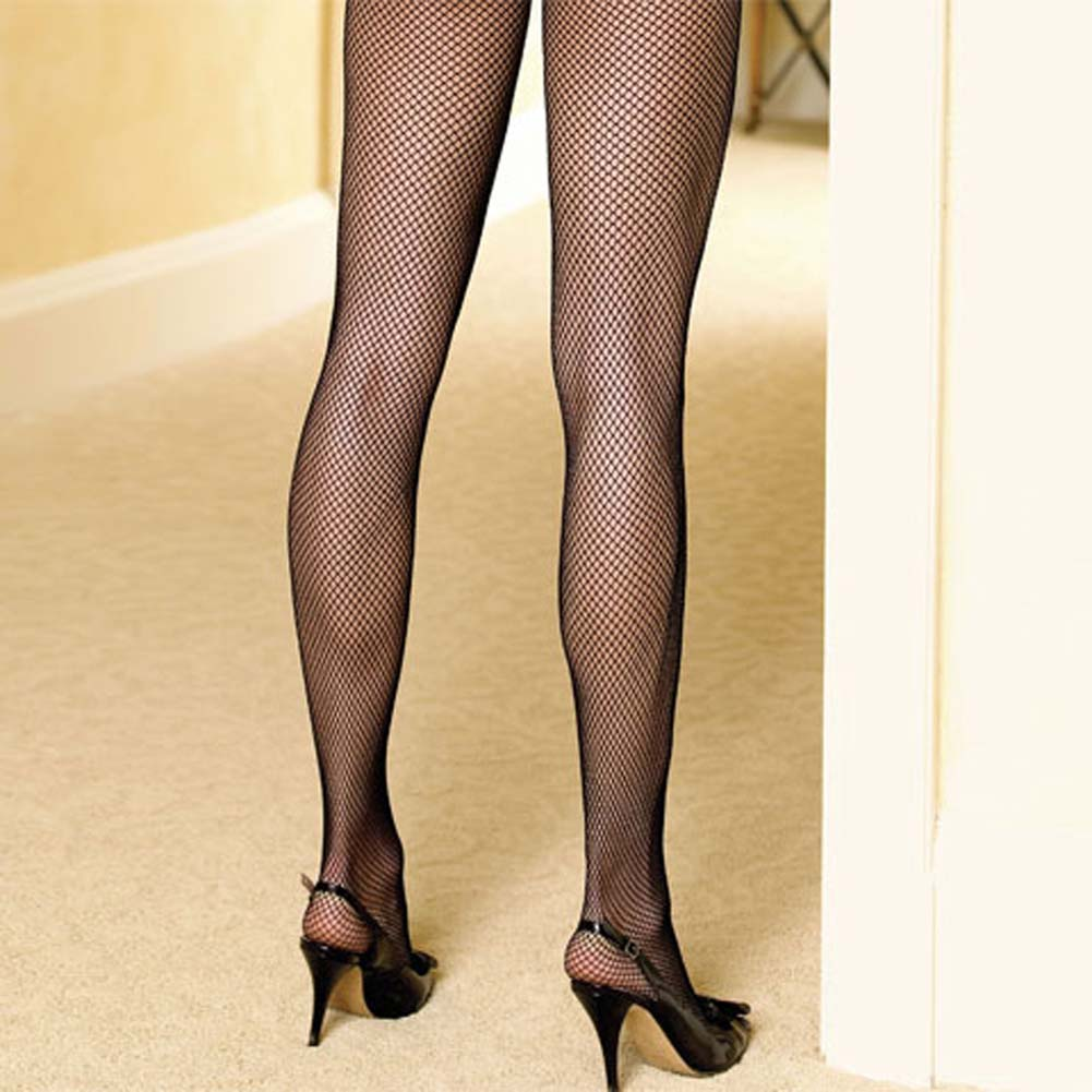 Seamless Fishnet Bodystocking with Lace Up Back Black - View #3